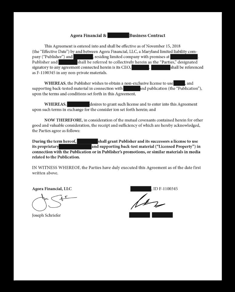 AF x XXXXX Business Contract