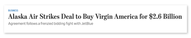Virgin America News Clipping