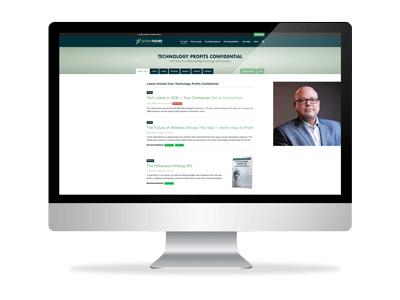 Image of desktop computer showing Technology Profits Confidential website
