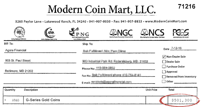G-Series Gold Coins Invoice