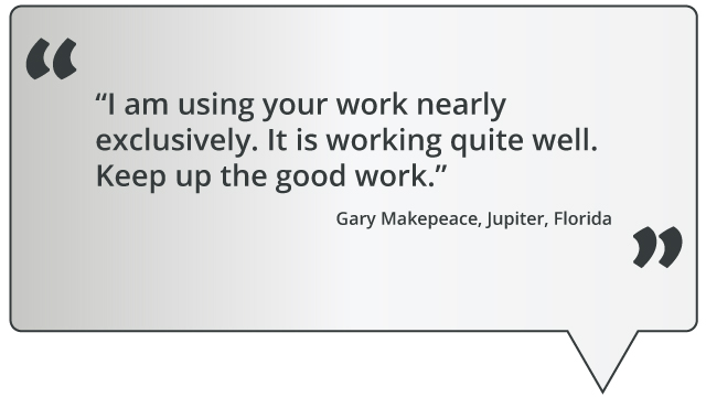 quote: I am using your work nearly exclusively. It is working quite well. Keep up the good work.