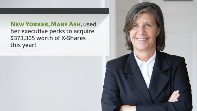 New Yorker Mary Adams used her executive perks to acquire $373,305 worth of X-Shares this year!