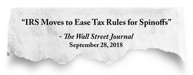 quote: IRS Moves to Ease Tax Rules for Spinoffs, The Wall Street Journal